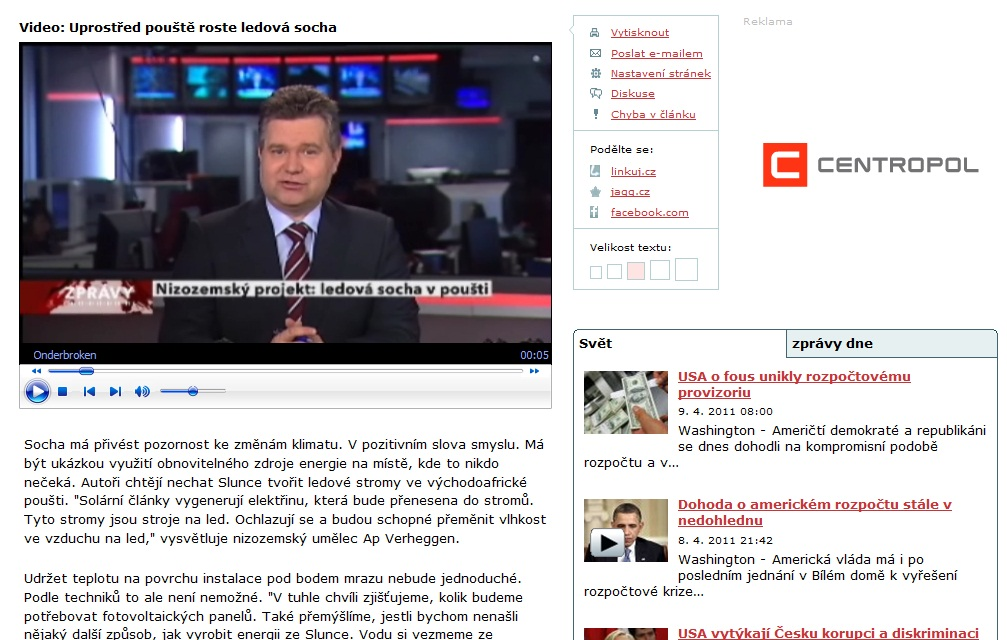 SunGlacier on Tsjech TV News